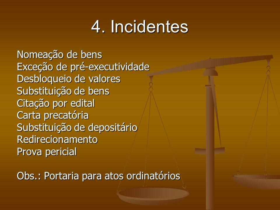 4. Incidentes Nomeação de bens Exceção de pré-executividade Desbloqueio de valores Substituição de bens Citação por edital Carta precatória Substituiç
