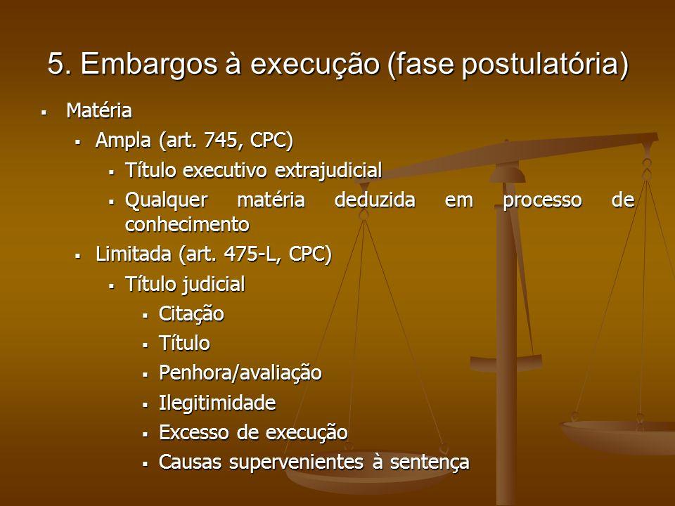 5. Embargos à execução (fase postulatória) Matéria Matéria Ampla (art. 745, CPC) Ampla (art. 745, CPC) Título executivo extrajudicial Título executivo