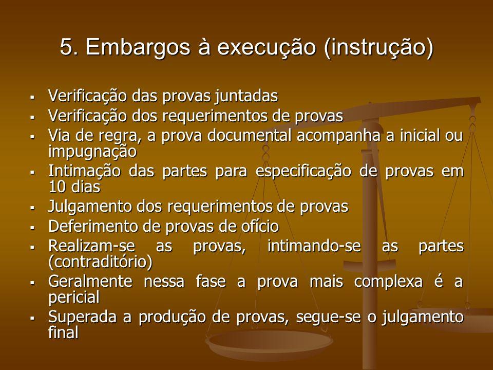 5. Embargos à execução (instrução) Verificação das provas juntadas Verificação das provas juntadas Verificação dos requerimentos de provas Verificação
