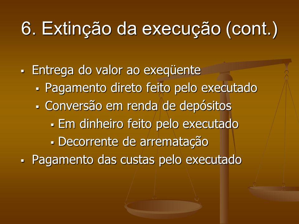 6. Extinção da execução (cont.) Entrega do valor ao exeqüente Entrega do valor ao exeqüente Pagamento direto feito pelo executado Pagamento direto fei