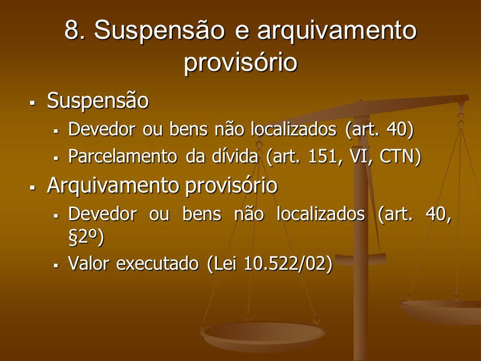 8. Suspensão e arquivamento provisório Suspensão Suspensão Devedor ou bens não localizados (art. 40) Devedor ou bens não localizados (art. 40) Parcela