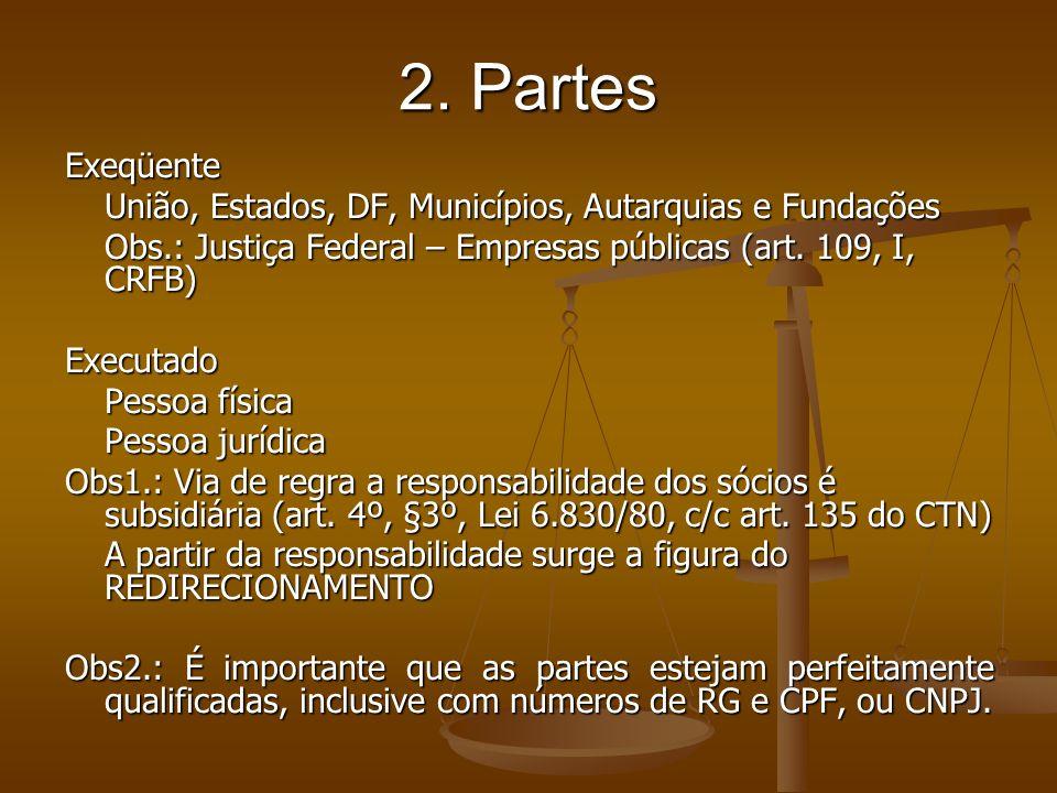 2. Partes Exeqüente União, Estados, DF, Municípios, Autarquias e Fundações Obs.: Justiça Federal – Empresas públicas (art. 109, I, CRFB) Executado Pes