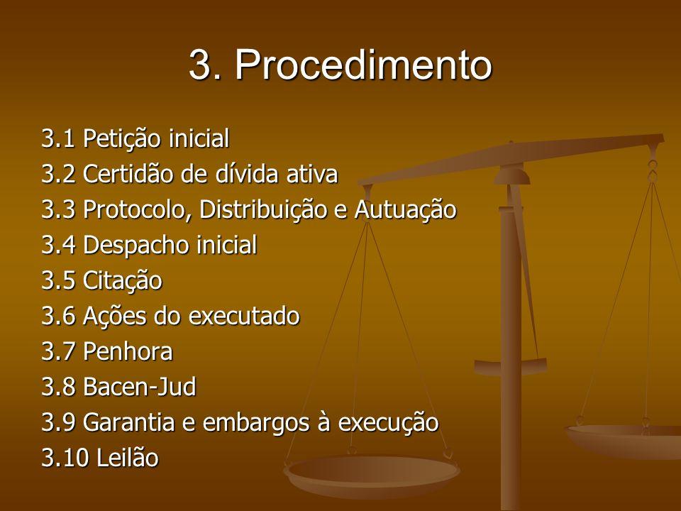 3. Procedimento 3.1 Petição inicial 3.2 Certidão de dívida ativa 3.3 Protocolo, Distribuição e Autuação 3.4 Despacho inicial 3.5 Citação 3.6 Ações do