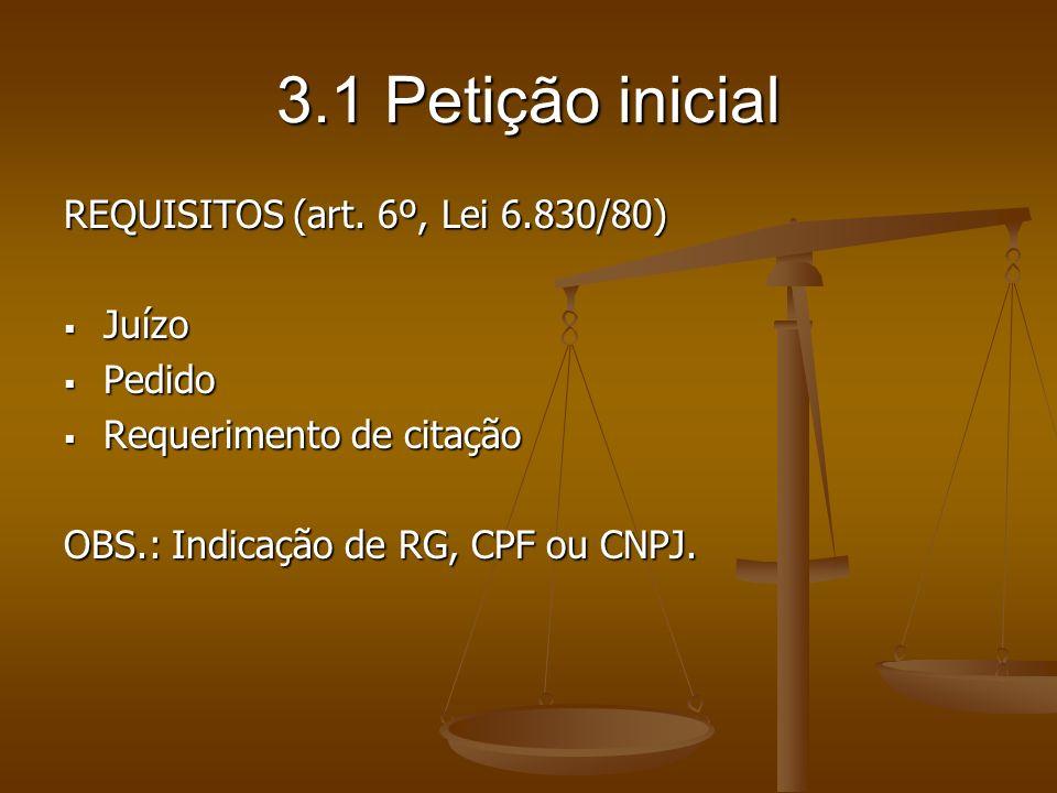 3.1 Petição inicial REQUISITOS (art. 6º, Lei 6.830/80) Juízo Juízo Pedido Pedido Requerimento de citação Requerimento de citação OBS.: Indicação de RG