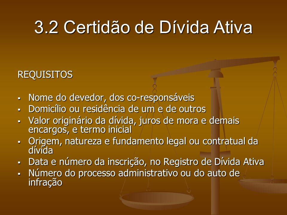 3.2 Certidão de Dívida Ativa REQUISITOS Nome do devedor, dos co-responsáveis Nome do devedor, dos co-responsáveis Domicílio ou residência de um e de o