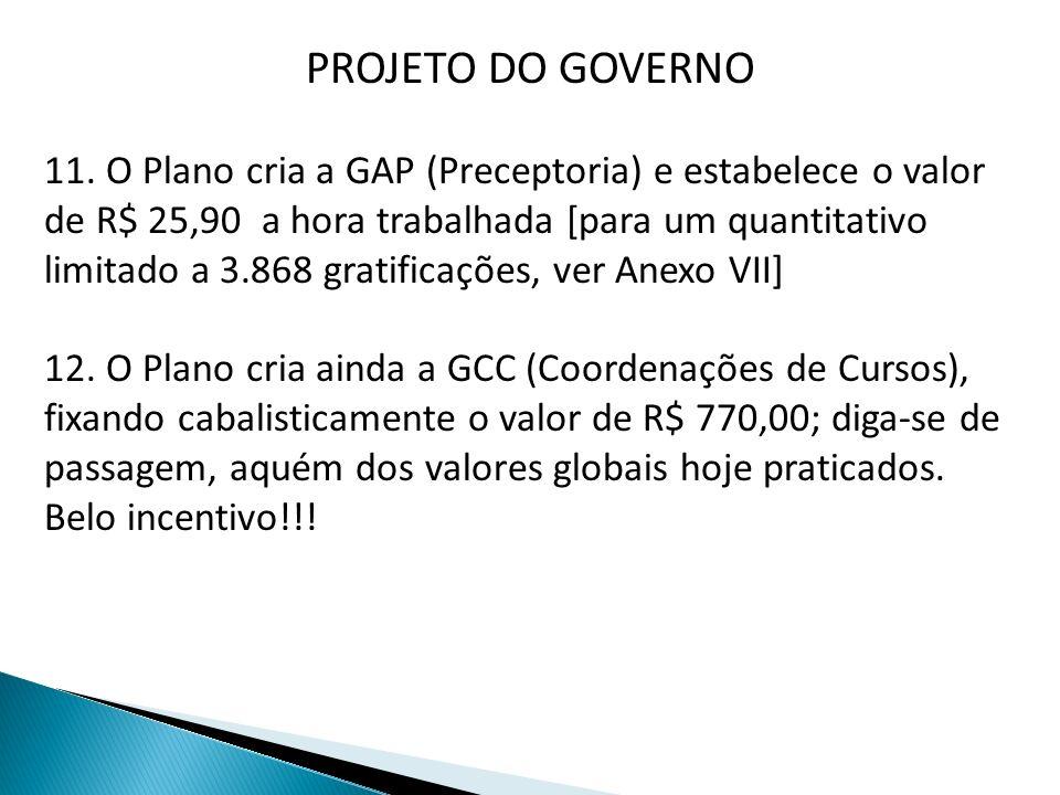 PROJETO DO GOVERNO 11. O Plano cria a GAP (Preceptoria) e estabelece o valor de R$ 25,90 a hora trabalhada [para um quantitativo limitado a 3.868 grat
