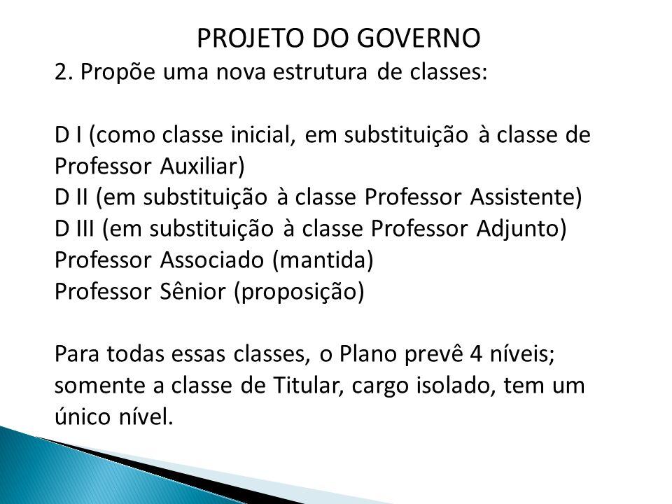 PROJETO DO GOVERNO 2. Propõe uma nova estrutura de classes: D I (como classe inicial, em substituição à classe de Professor Auxiliar) D II (em substit