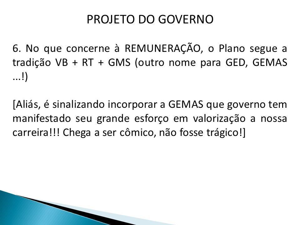 PROJETO DO GOVERNO 6. No que concerne à REMUNERAÇÃO, o Plano segue a tradição VB + RT + GMS (outro nome para GED, GEMAS...!) [Aliás, é sinalizando inc