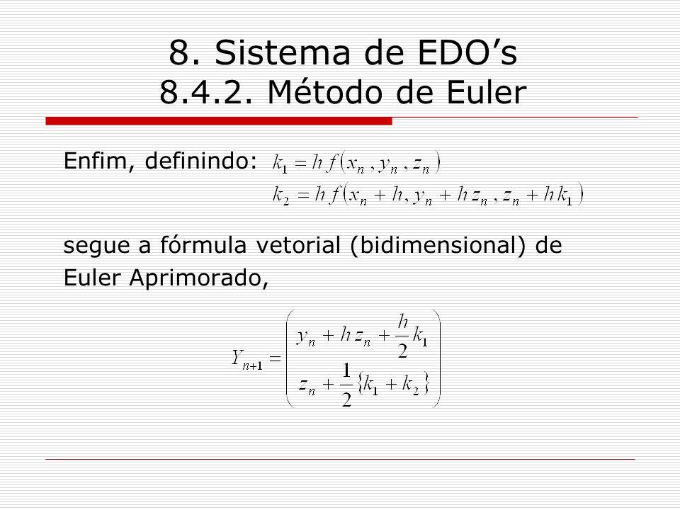 8. Sistema de EDOs 8.4.2. Método de Euler Enfim, definindo: segue a fórmula vetorial (bidimensional) de Euler Aprimorado,