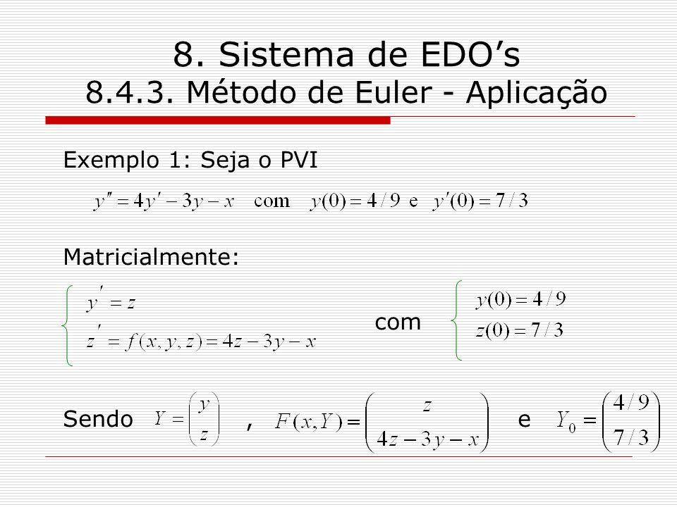 8. Sistema de EDOs 8.4.3. Método de Euler - Aplicação Exemplo 1: Seja o PVI Matricialmente: com Sendo, e
