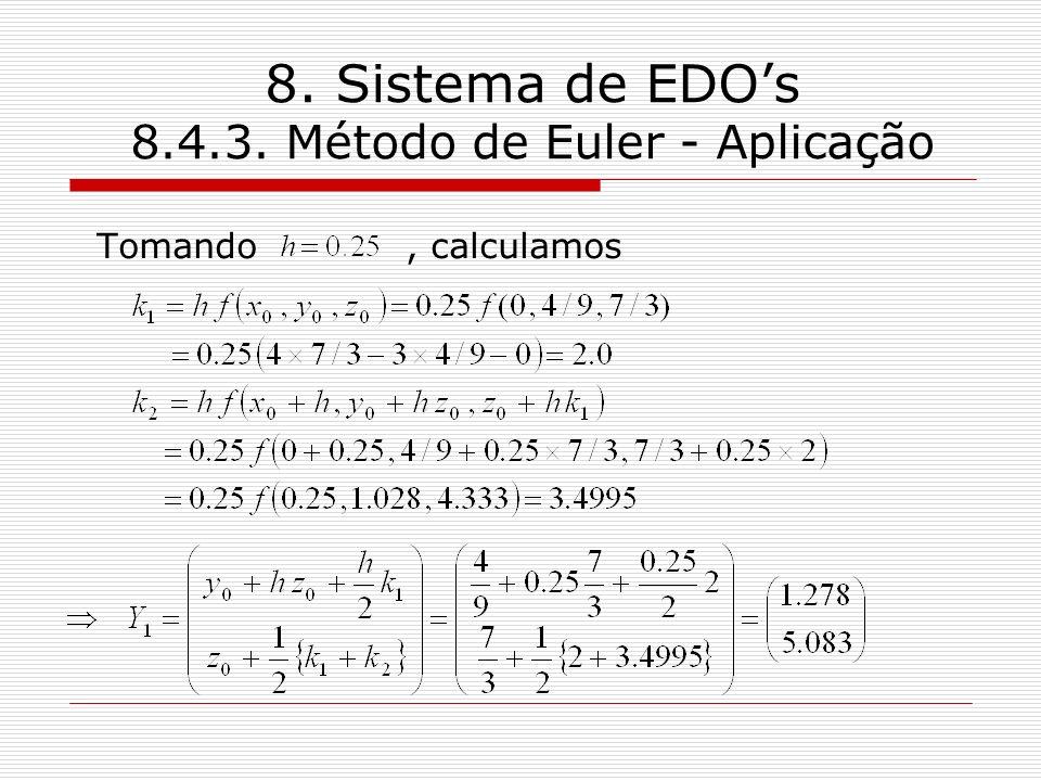 8. Sistema de EDOs 8.4.3. Método de Euler - Aplicação Tomando, calculamos