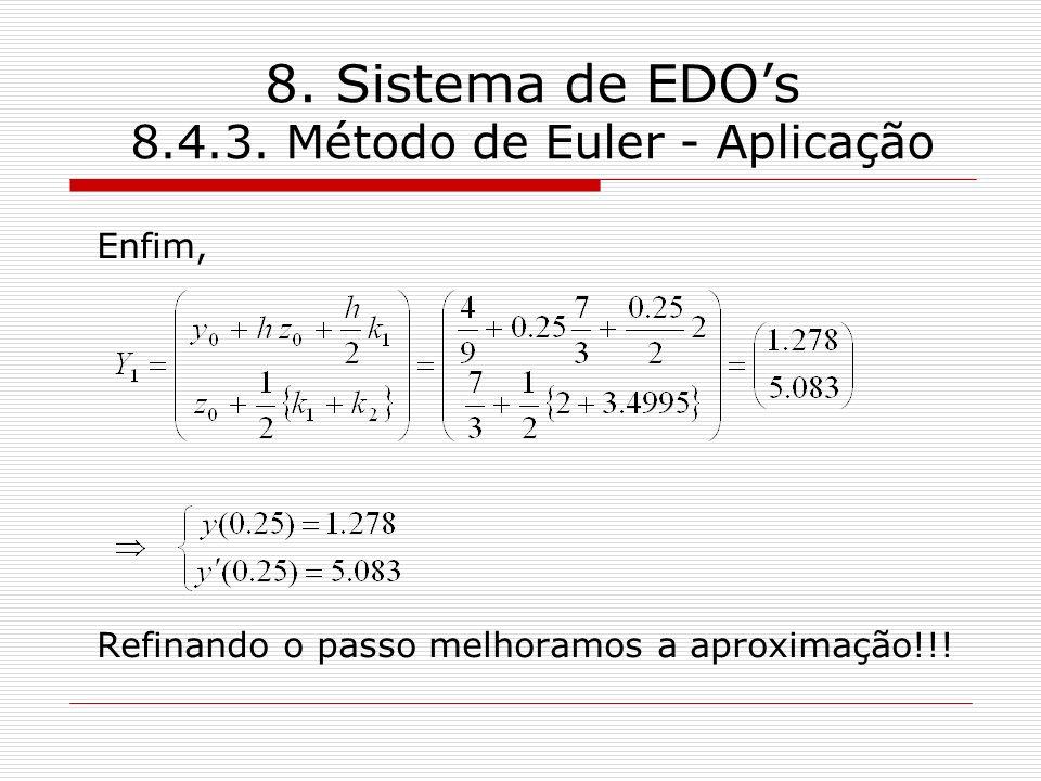 8. Sistema de EDOs 8.4.3. Método de Euler - Aplicação Enfim, Refinando o passo melhoramos a aproximação!!!