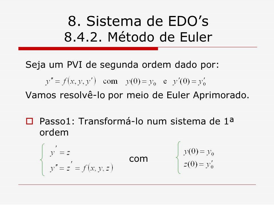 8. Sistema de EDOs 8.4.2. Método de Euler Seja um PVI de segunda ordem dado por: Vamos resolvê-lo por meio de Euler Aprimorado. Passo1: Transformá-lo