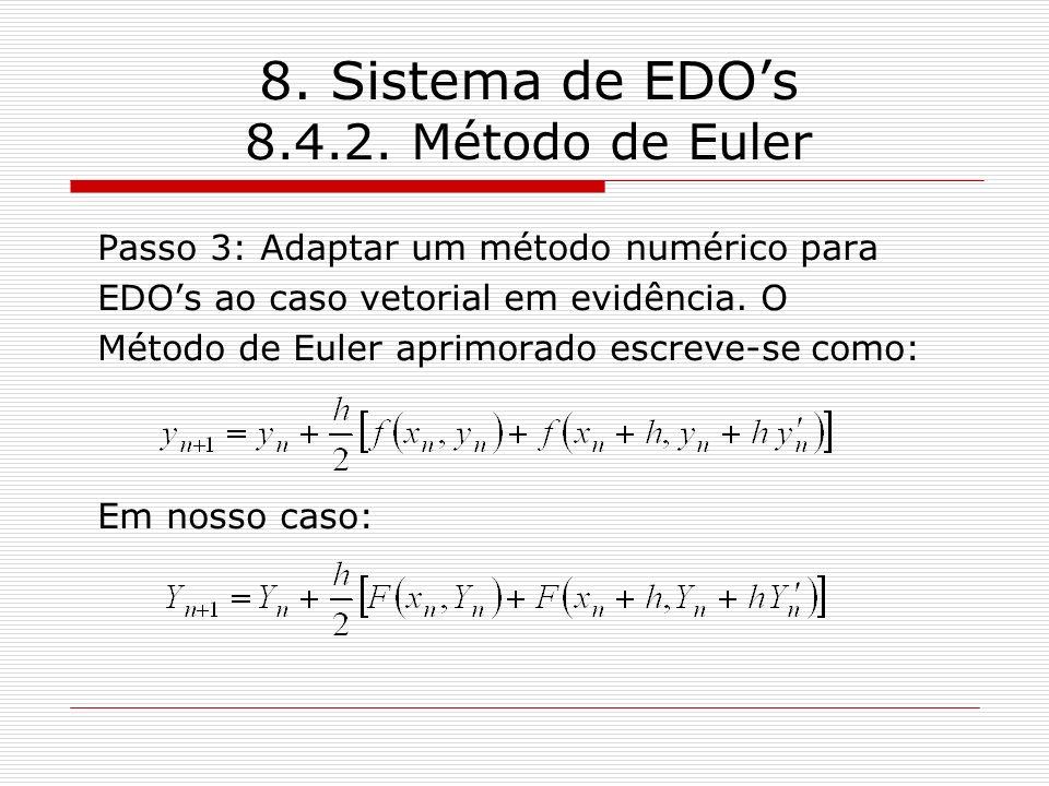 8. Sistema de EDOs 8.4.2. Método de Euler Passo 3: Adaptar um método numérico para EDOs ao caso vetorial em evidência. O Método de Euler aprimorado es