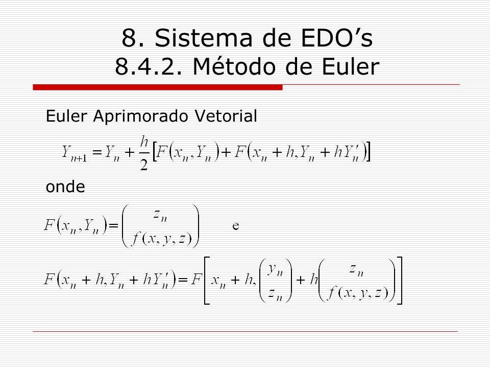 8. Sistema de EDOs 8.4.2. Método de Euler Euler Aprimorado Vetorial onde