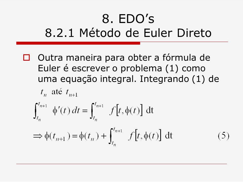 8. EDOs 8.2.1 Método de Euler Direto Outra maneira para obter a fórmula de Euler é escrever o problema (1) como uma equação integral. Integrando (1) d