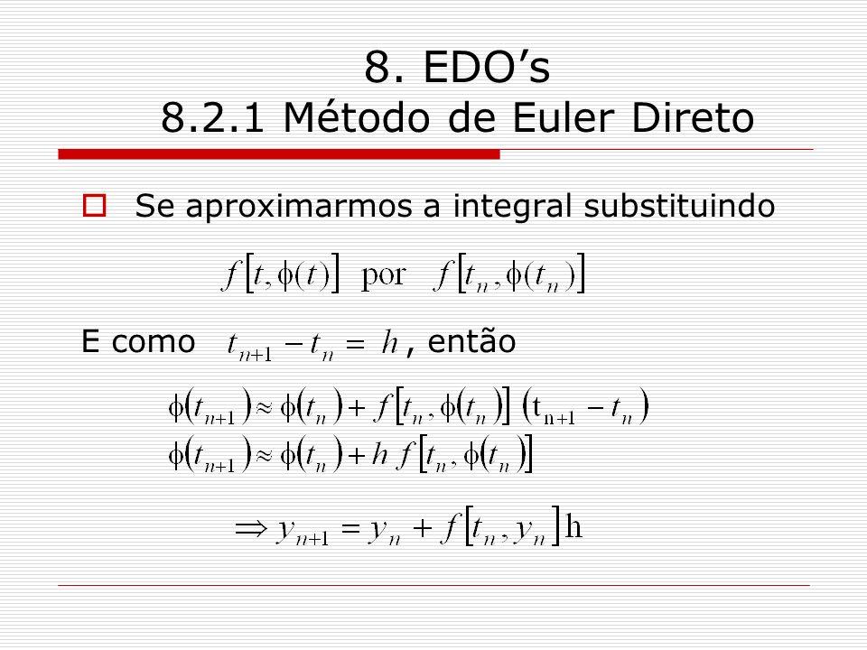 8. EDOs 8.2.1 Método de Euler Direto Se aproximarmos a integral substituindo E como, então