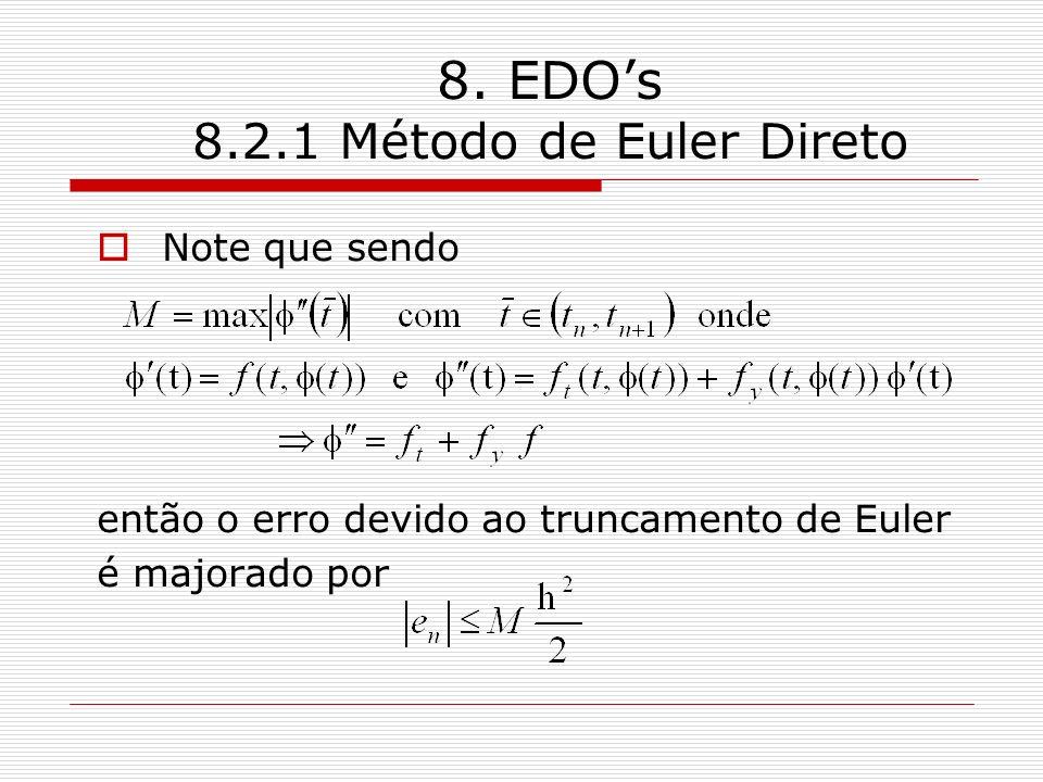 8. EDOs 8.2.1 Método de Euler Direto Note que sendo então o erro devido ao truncamento de Euler é majorado por