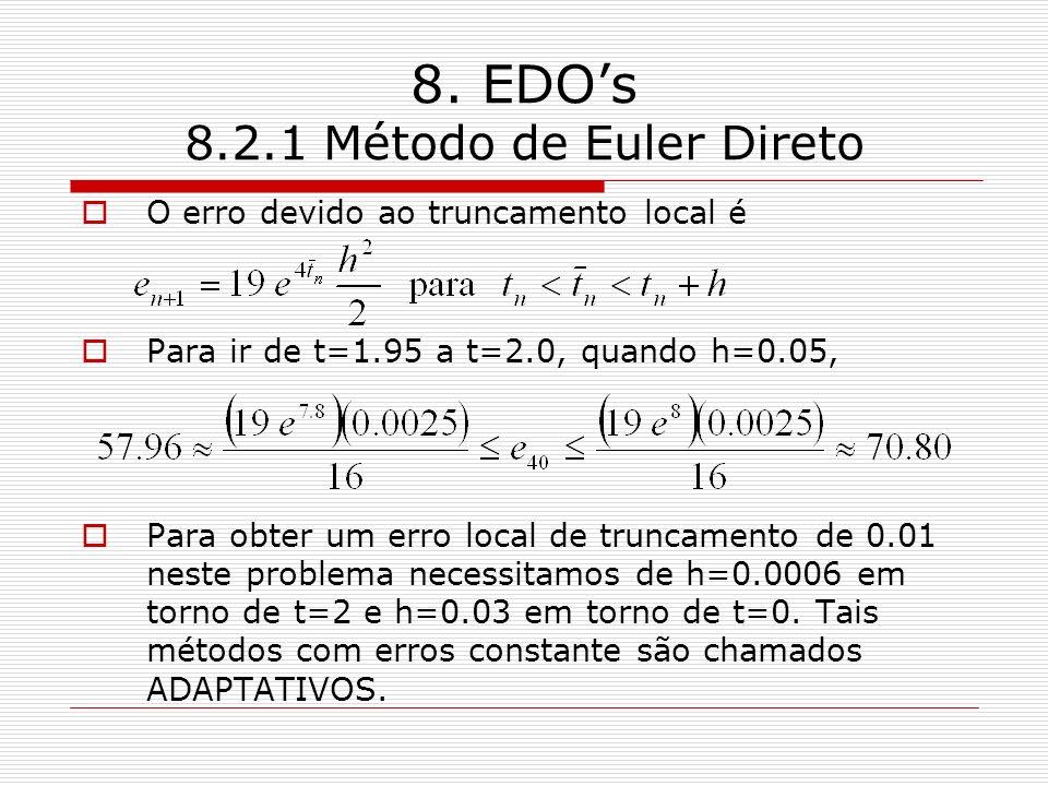 8. EDOs 8.2.1 Método de Euler Direto O erro devido ao truncamento local é Para ir de t=1.95 a t=2.0, quando h=0.05, Para obter um erro local de trunca