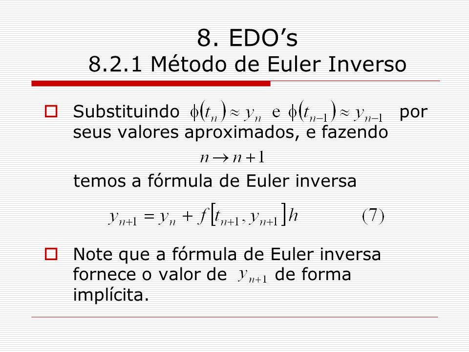 8. EDOs 8.2.1 Método de Euler Inverso Substituindo por seus valores aproximados, e fazendo temos a fórmula de Euler inversa Note que a fórmula de Eule