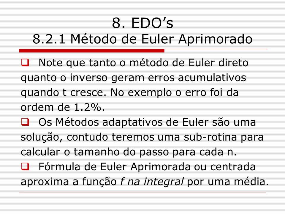 8. EDOs 8.2.1 Método de Euler Aprimorado Note que tanto o método de Euler direto quanto o inverso geram erros acumulativos quando t cresce. No exemplo