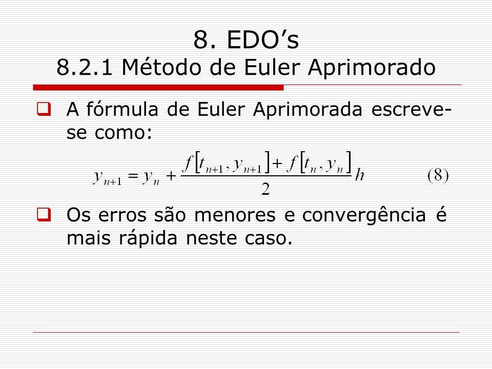 8. EDOs 8.2.1 Método de Euler Aprimorado A fórmula de Euler Aprimorada escreve- se como: Os erros são menores e convergência é mais rápida neste caso.