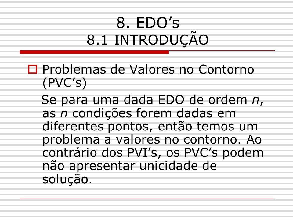 8. EDOs 8.1 INTRODUÇÃO Problemas de Valores no Contorno (PVCs) Se para uma dada EDO de ordem n, as n condições forem dadas em diferentes pontos, então