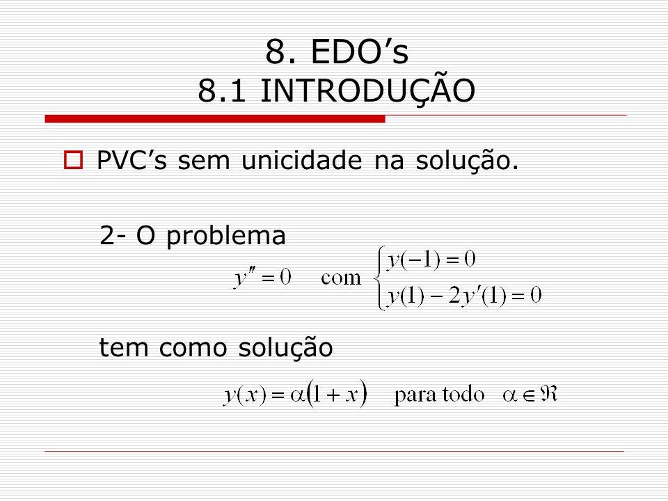 8. EDOs 8.1 INTRODUÇÃO PVCs sem unicidade na solução. 2- O problema tem como solução