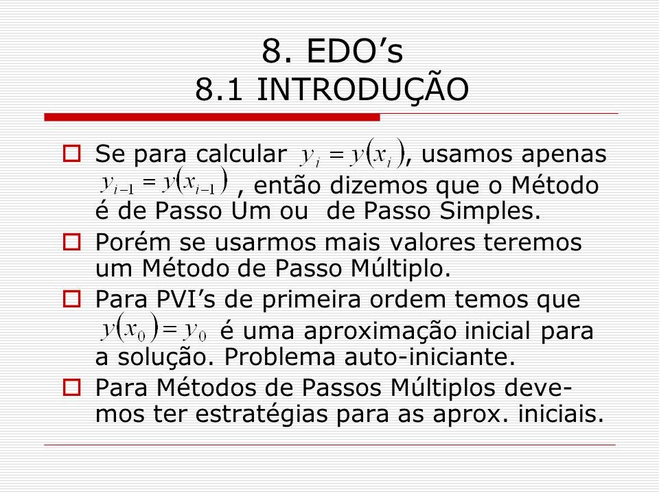 8. EDOs 8.1 INTRODUÇÃO Se para calcular, usamos apenas, então dizemos que o Método é de Passo Um ou de Passo Simples. Porém se usarmos mais valores te