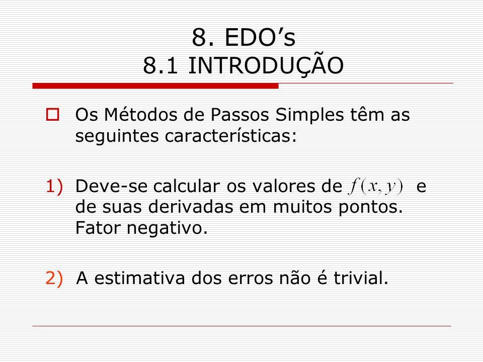 8. EDOs 8.1 INTRODUÇÃO Os Métodos de Passos Simples têm as seguintes características: 1)Deve-se calcular os valores de e de suas derivadas em muitos p