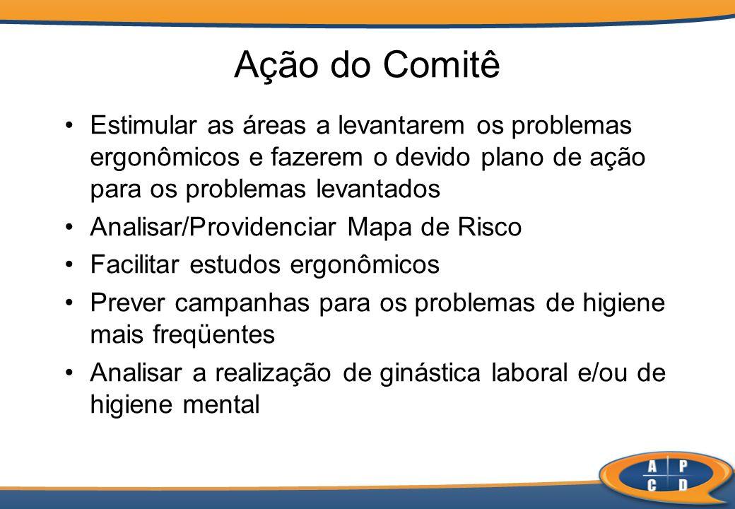Ação do Comitê Estimular as áreas a levantarem os problemas ergonômicos e fazerem o devido plano de ação para os problemas levantados Analisar/Provide