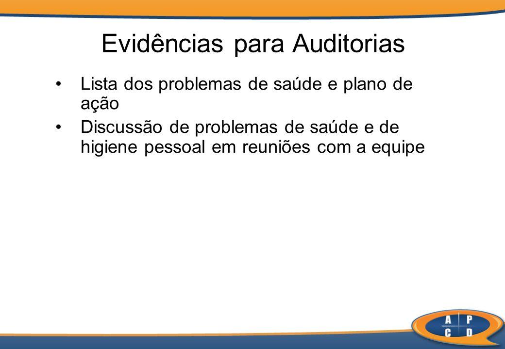 Lista dos problemas de saúde e plano de ação Discussão de problemas de saúde e de higiene pessoal em reuniões com a equipe Evidências para Auditorias