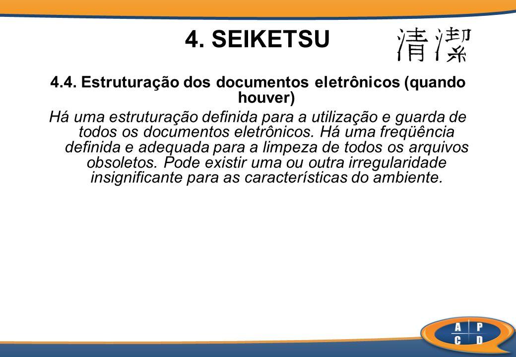 4.4. Estruturação dos documentos eletrônicos (quando houver) Há uma estruturação definida para a utilização e guarda de todos os documentos eletrônico