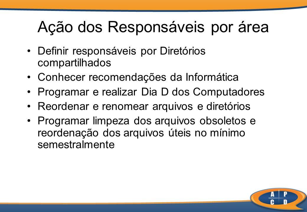 Ação dos Responsáveis por área Definir responsáveis por Diretórios compartilhados Conhecer recomendações da Informática Programar e realizar Dia D dos