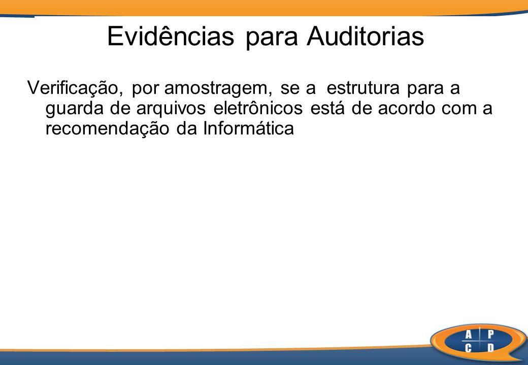 Verificação, por amostragem, se a estrutura para a guarda de arquivos eletrônicos está de acordo com a recomendação da Informática Evidências para Aud