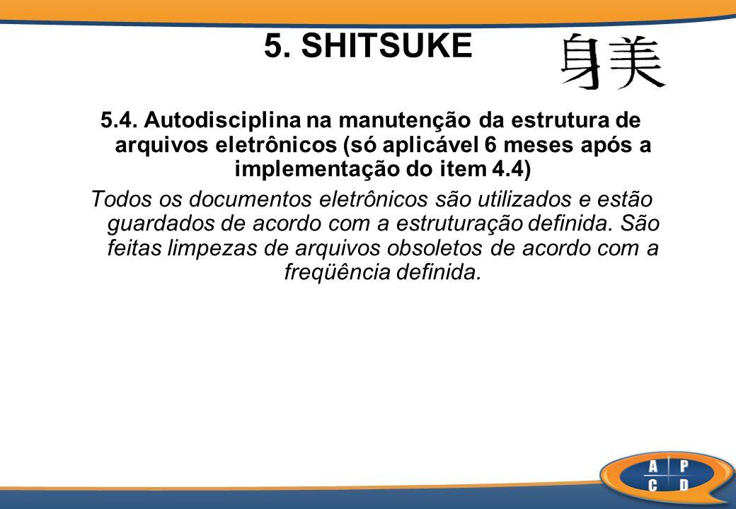 5. SHITSUKE 5.4. Autodisciplina na manutenção da estrutura de arquivos eletrônicos (só aplicável 6 meses após a implementação do item 4.4) Todos os do