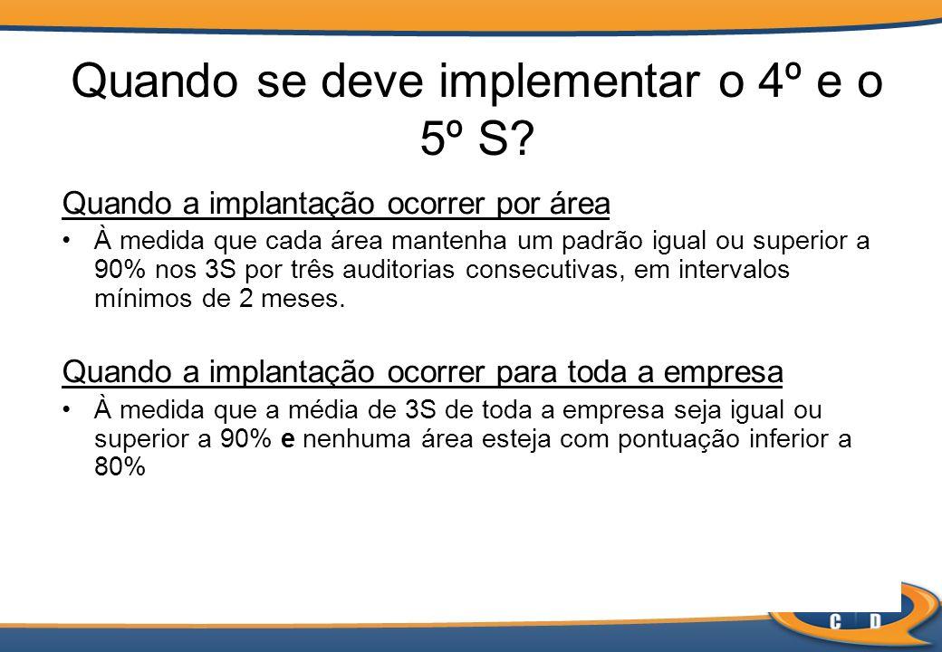 Quando se deve implementar o 4º e o 5º S? Quando a implantação ocorrer por área À medida que cada área mantenha um padrão igual ou superior a 90% nos