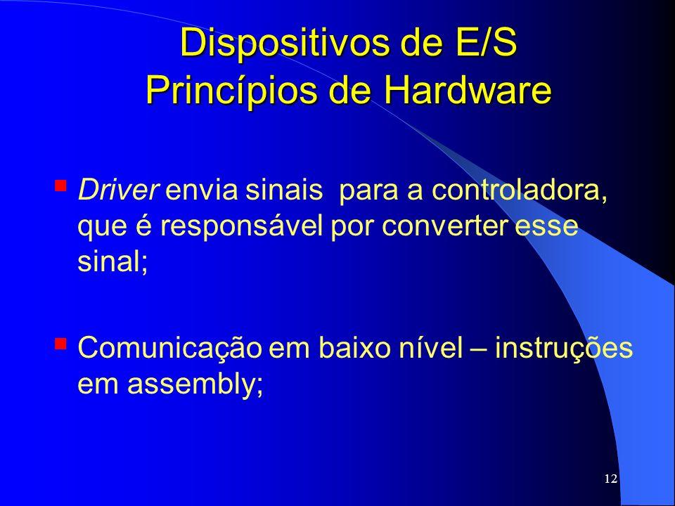 12 Dispositivos de E/S Princípios de Hardware Driver envia sinais para a controladora, que é responsável por converter esse sinal; Comunicação em baix