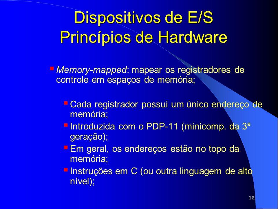 18 Dispositivos de E/S Princípios de Hardware Memory-mapped: mapear os registradores de controle em espaços de memória; Cada registrador possui um úni