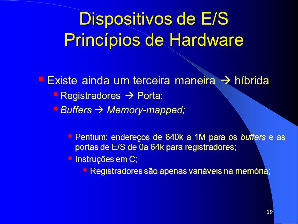 19 Dispositivos de E/S Princípios de Hardware Existe ainda um terceira maneira híbrida Registradores Porta; Buffers Memory-mapped; Pentium: endereços