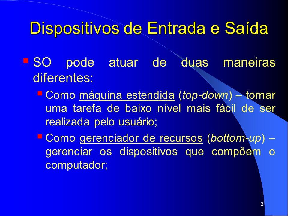 63 Dispositivos de E/S - Discos Disco com 37 cilindros; Lendo bloco no cilindro 11; Requisições: 1,36,16,34,9,12, nesta ordem XXXXXXX 05101520253036 Pos.