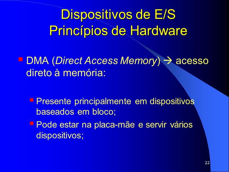 22 Dispositivos de E/S Princípios de Hardware DMA (Direct Access Memory) acesso direto à memória: Presente principalmente em dispositivos baseados em