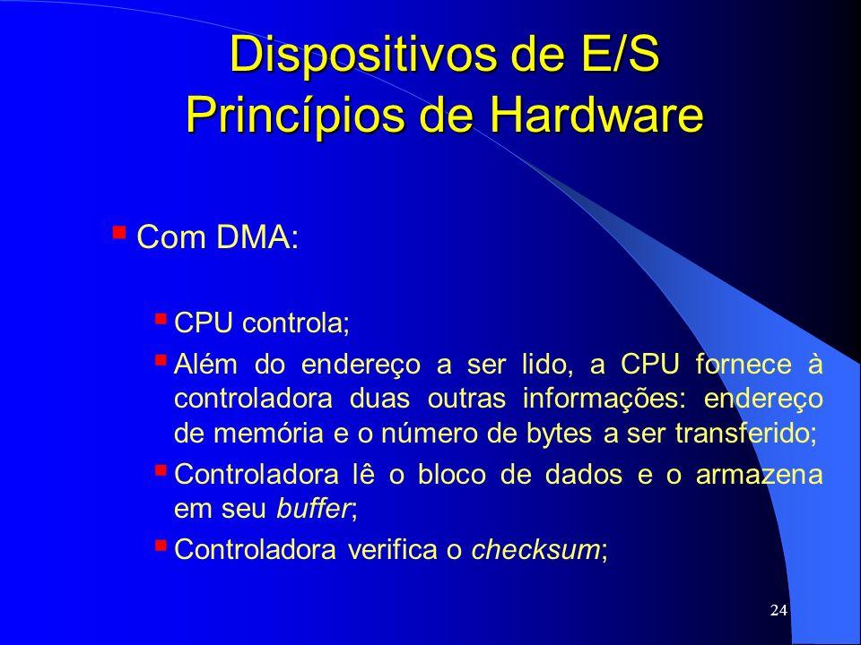24 Dispositivos de E/S Princípios de Hardware Com DMA: CPU controla; Além do endereço a ser lido, a CPU fornece à controladora duas outras informações