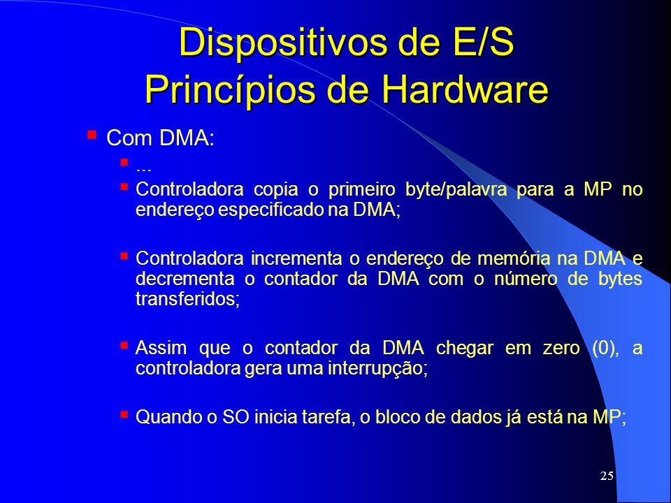 25 Dispositivos de E/S Princípios de Hardware Com DMA:... Controladora copia o primeiro byte/palavra para a MP no endereço especificado na DMA; Contro