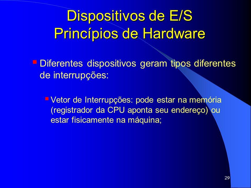 29 Dispositivos de E/S Princípios de Hardware Diferentes dispositivos geram tipos diferentes de interrupções: Vetor de Interrupções: pode estar na mem