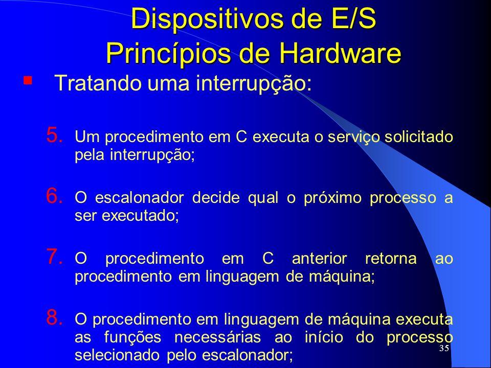 35 Dispositivos de E/S Princípios de Hardware Tratando uma interrupção: 5. Um procedimento em C executa o serviço solicitado pela interrupção; 6. O es