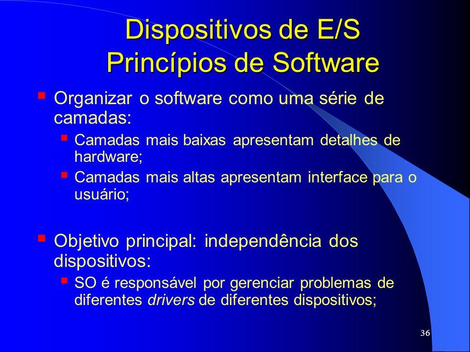 36 Dispositivos de E/S Princípios de Software Organizar o software como uma série de camadas: Camadas mais baixas apresentam detalhes de hardware; Cam
