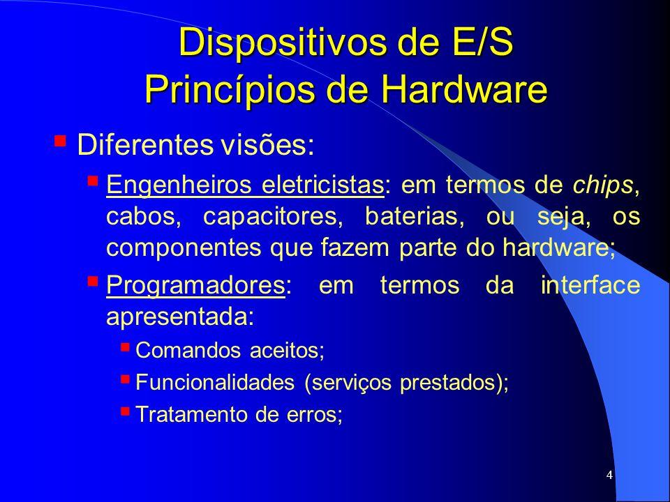 45 Dispositivos de E/S Princípios de Software 04 camadas: Manipuladores de interrupção (mais baixo nível); Drivers dos dispositivos; Software de E/S (independente do dispositivo); Software do usuário (mais alto nível - topo); Hardware Manipuladores de Interrupção Drivers Software de E/S Software de E/S do Usuário Serviços