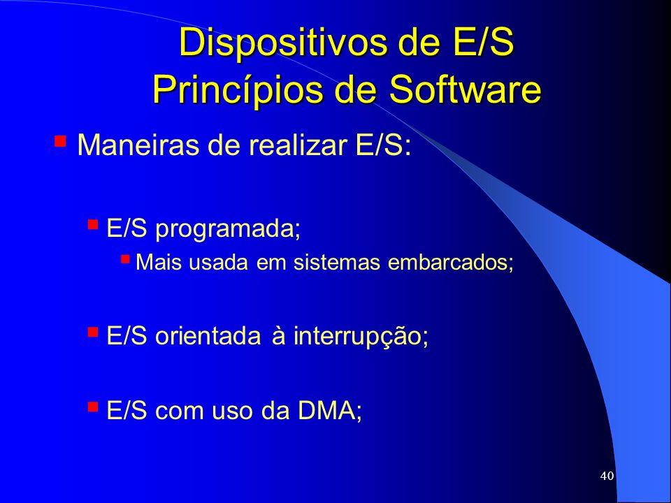 40 Dispositivos de E/S Princípios de Software Maneiras de realizar E/S: E/S programada; Mais usada em sistemas embarcados; E/S orientada à interrupção
