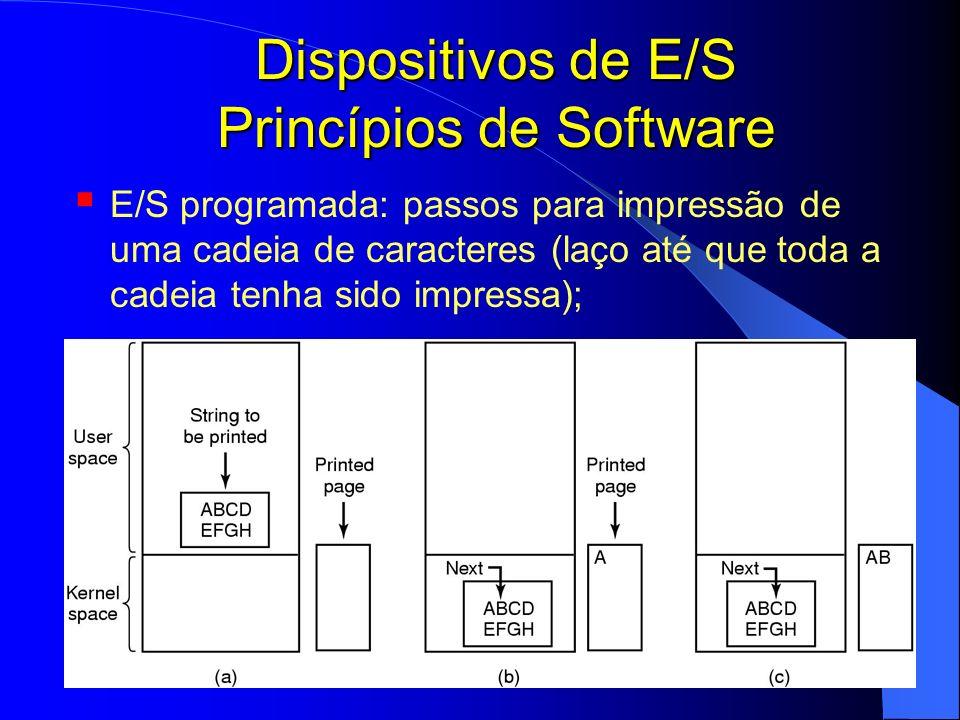 41 Dispositivos de E/S Princípios de Software E/S programada: passos para impressão de uma cadeia de caracteres (laço até que toda a cadeia tenha sido